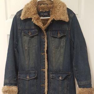 Steven Madden Long Island Denim&Fur Trench Coat